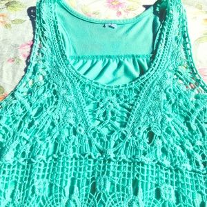 Summer Teal Cotton Midriff Tank Top With Crochet